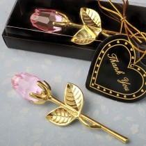 Choice Crystal Gold long stem pink Rose from fashioncraft