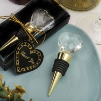Choice Crystal Gold Bottle Stopper With Crystal Heart Design from fashioncraft