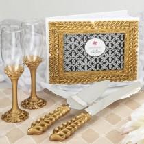 Gold lattice botanical collection set