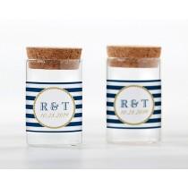 Personalized Glass Tube Jar - Nautical Wedding (Set of 12)