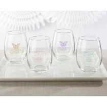 Personalized 9 oz. Stemless Wine Glass - Baby Brunch