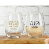 Personalized 9 oz. Stemless Wine Glass - Boozie Birthday