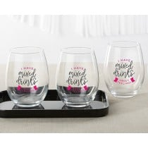 I Have Mixed Drinks About Feelings 15 oz. Stemless Wine Glass (Set of 4)