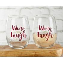 Wine A Little Laugh A Lot 15 oz. Stemless Wine Glass (Set of 4)