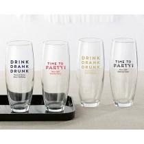 Personalized 9 oz. Stemless Champagne Glass - Boozie Birthday