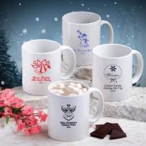White Ceramic Coffee Mug - Holiday Designs