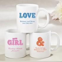 Personalized White Ceramic coffee mug - marquee design