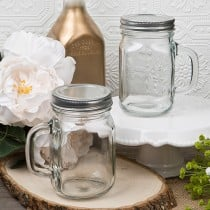12 Ounce Perfectly Plain Glass Mason Jar with Handle  from Fashioncraft