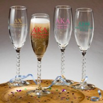 Champagne Flute With Twisted Stem: Greek Designs (gift boxes available)