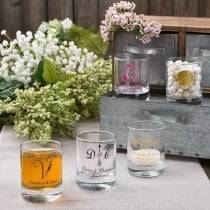 Shot glass or votive from Fashioncraft's Silkscreened Monogram Collection