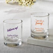 Personalized Celebration Shot Glass / Votive Favors 3.5 oz