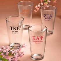 Personalized Pint Glasses: Greek Designs