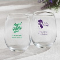 Personalized 9 oz Stemless Wine Glasses Graduation design