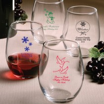 Stemless Wine Glasses - Holiday Designs (gift boxes available)