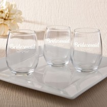 15 Ounce Stemless Wine Glasses - Bridesmaid Design