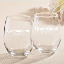 15 Ounce Stemless Wine Glasses - Groomsman Design