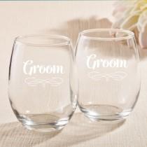 15 Ounce Stemless Wine Glasses - Groom Design