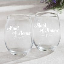 15 Ounce Stemless Wine Glasses - Maid Of Honor Design