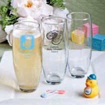 Silkscreened Glassware Collection stemless Champagne flute favors