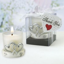 Interlocking Silver Heart Design Candleholders