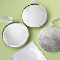 """Perfectly Plain Silver Metal 3"""" Round Ornament With Epoxy Dome"""