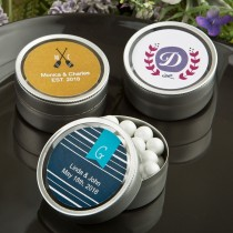 Monogram Collection round silver mint tins