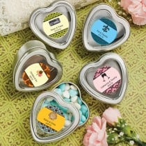 Personalized Expressions Collection Silver Heart Shaped Mint Tins