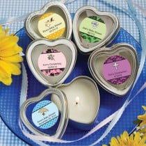 Personalized Expressions Collection Scented Heart Shaped Travel Candles