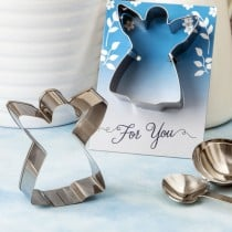 Guardian Angel themed cookie cutter made in tin metal with a shiny silver finish