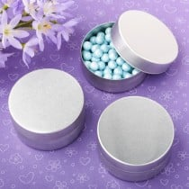 Perfectly Plain Collection brushed silver metal mint tin with solid silver metal brushed top