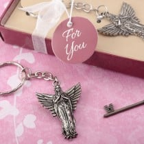 Guardian angel metal key chain