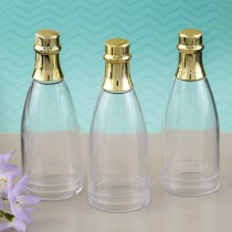 Perfectly Plain Collection champagne bottle acrylic container with gold foil top