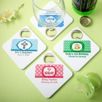 Clearly custom Coaster / bottle opener from fashioncraft (Baby Shower)