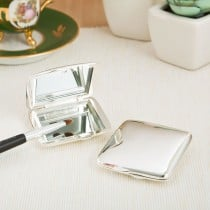 Silver plated square Compact Mirror