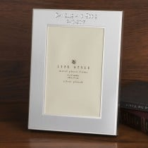 Brushed silver two tone engraved 4 x 6 picture frame