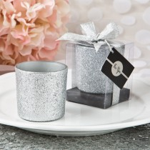 Bling Collection silver glitter candle votive from fashioncraft