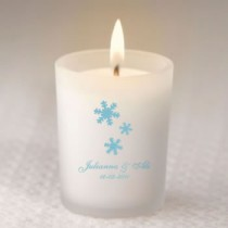 Winter Themed Frosted Candle