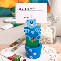 Blue teddy bear/flower pot place card/photo holder