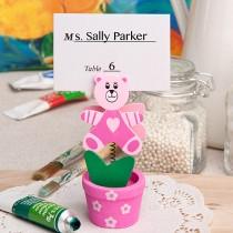 Pink teddy bear/flower pot place card/photo holder