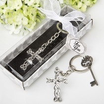 Delicate Intertwined metal cross key chain from fashioncraft