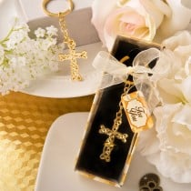 Dramatic Gold metal Cross with intricate intertwined design