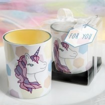 Unicorn themed glass votive candle holder