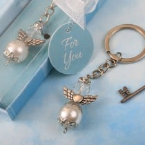 Elegant angel themed pearl and crystal Key chain with silver accent angel wings