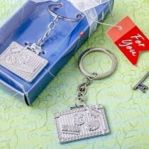 Silver luggage tag key chain
