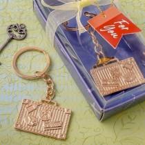 Gold luggage tag key chain