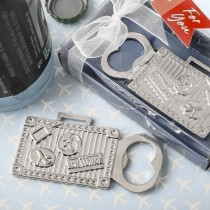 silver suitcase metal bottle opener