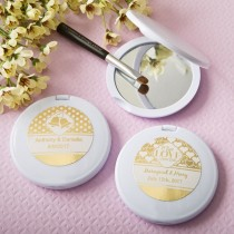 Personalized metallics collection compact mirror - wedding