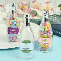 Design your own collection personalized champagne bottle with silver foil top: tropical designs