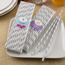 Customized Matte Silver and white stripe design paper straws