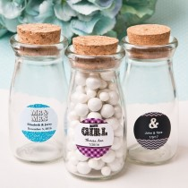 personalized vintage glass milk bottle with round cork top - marquee design